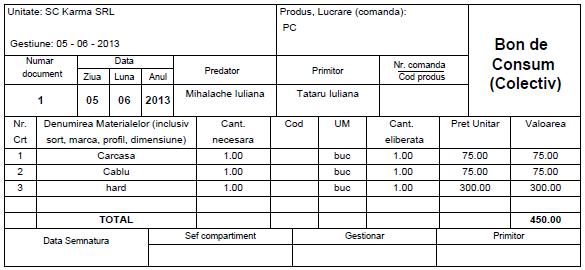 Model bon de consum emis cu aplicatia Facturis Online de facturare si gestiune online
