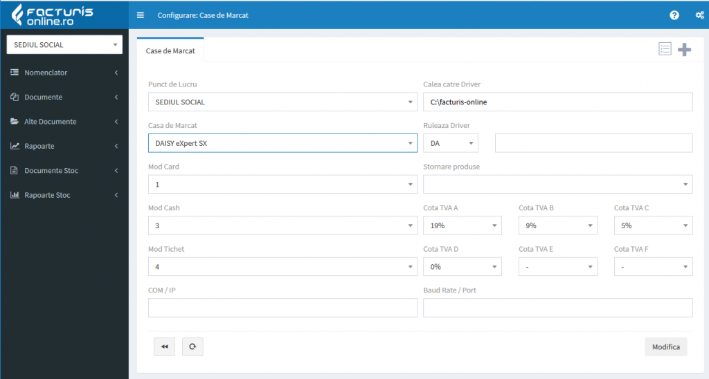 Configurare parametri casa de marcat Daisy in Facturis Online