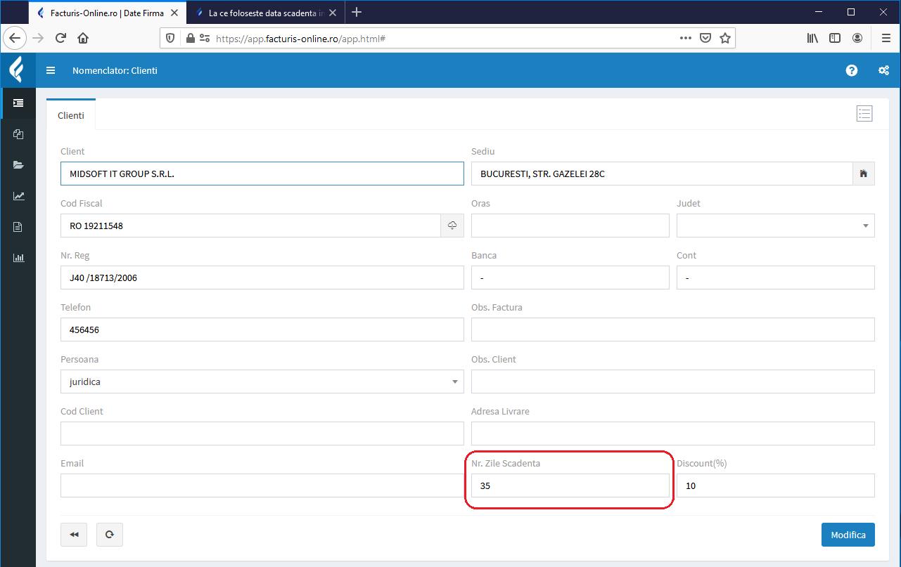 configurare data scadenta pentru fiecare client in parte