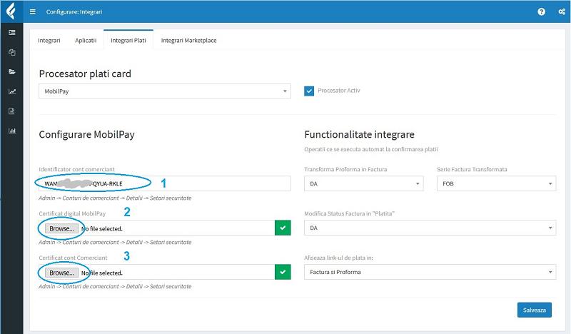 Configurare integrare mobilPay in aplicatia de facturare online