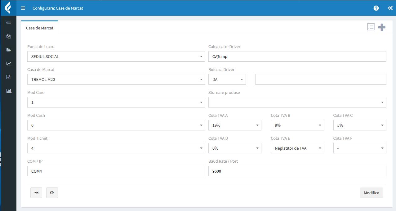 Configurare casa de marcat Tremol M20 in aplicatia Facturis Online