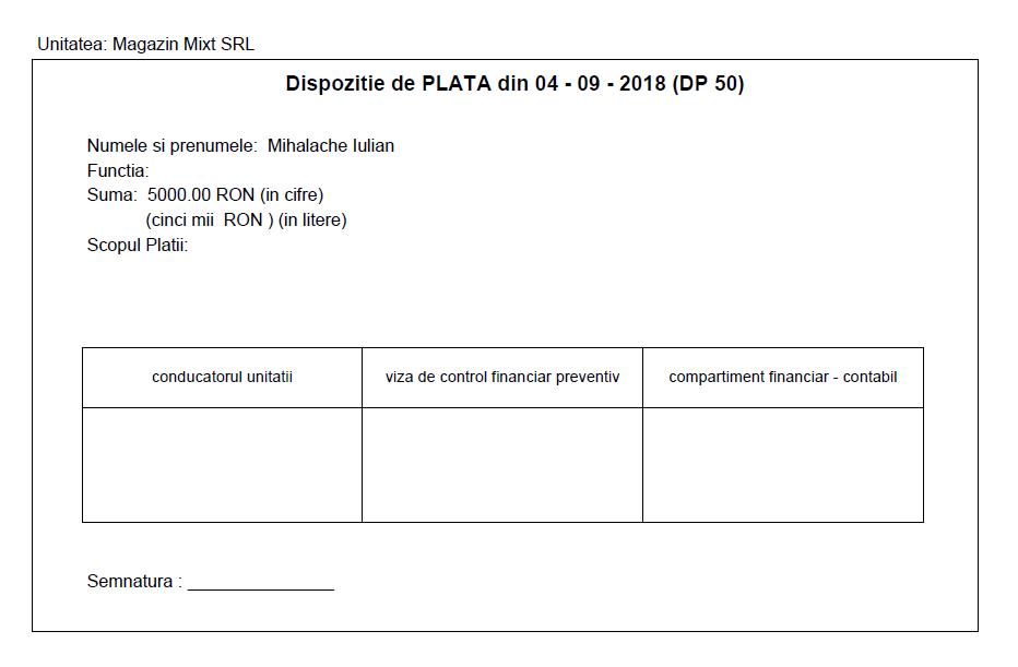 Dispozitie de plata emisa de aplicatia Facturis Online