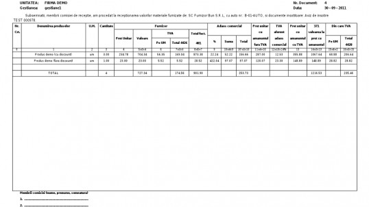 Nota de intrare receptie (NIR)