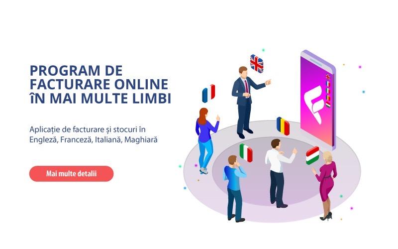 Program de facturare si in alte limbi : engleza, maghiara, italiana si franceza